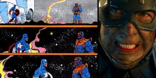"""Motyw z Capem stającym sam na sam z Thanosem widzieliśmy również w komiksowej """"Rękawicy Nieskończoności"""". Różnica polega na tym, że w tej historii Rogers był ostatnim z herosów, który zdołał stać o własnych siłach."""
