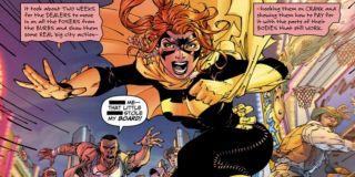 """Batgirl zostaje określone przez walczących z nią dilerów narkotykowych jako """"kur…"""" i """"dzi…"""" - w pierwszej edycji komiksu czarne paski zostały nałożone w złym miejscu, przez co czytelnicy mogli zobaczyć oba określenia na 15-latkę (All-Star Batman and Robin the Boy Wonder #10)"""