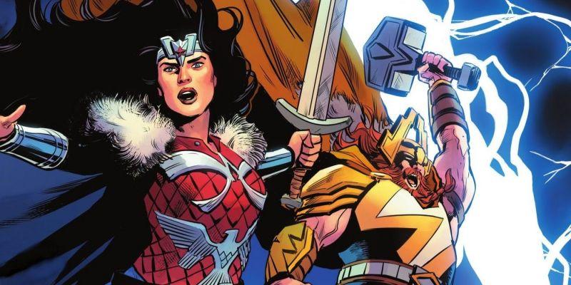 Thor został właśnie pobity przez... Wonder Woman. I to Mjolnirem - później młot [SPOILER]