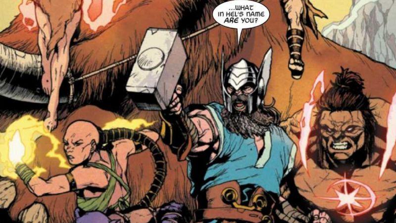 Marvel - przed wiekami Eternals starli się z Avengers. Odyn bije Mjolnirem; co na to Ajak?