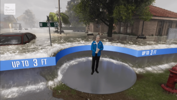 Prognoza pogody w rzeczywistości rozszerzonej ukazuje niszczycielską moc huraganu
