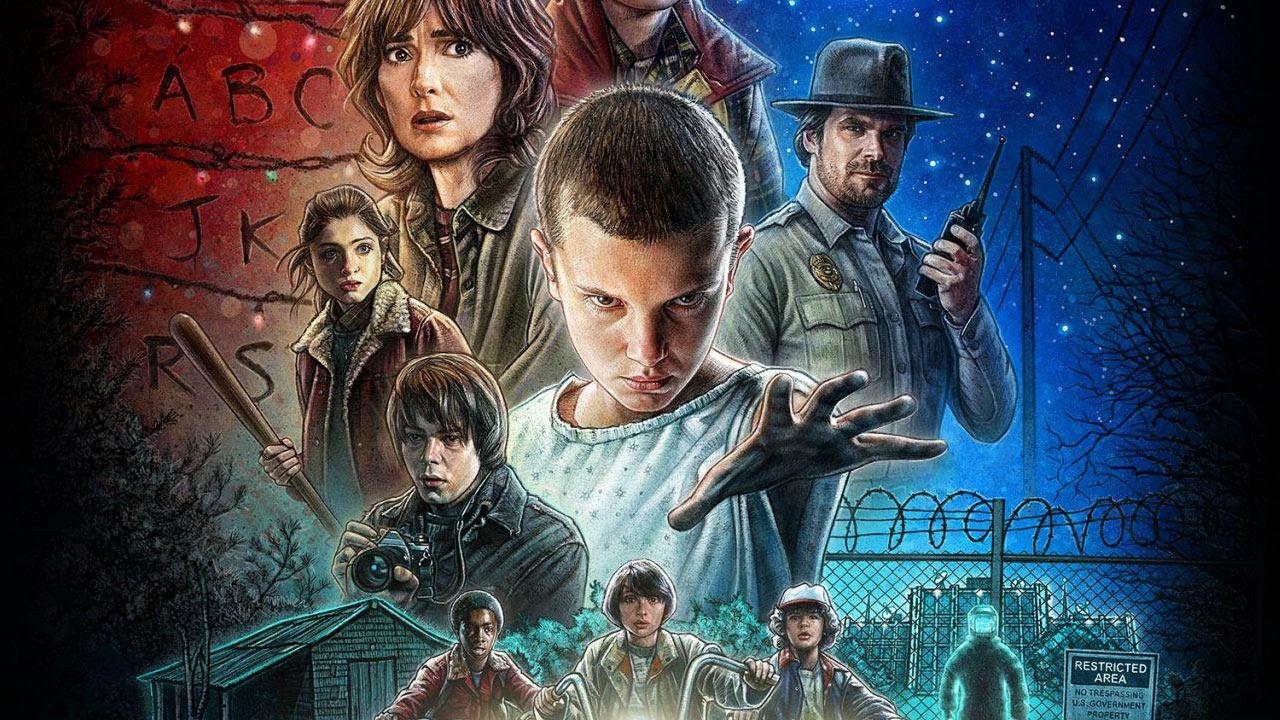 Stranger Things - banner serialu Netflixa nawiązujący do kina lat 80
