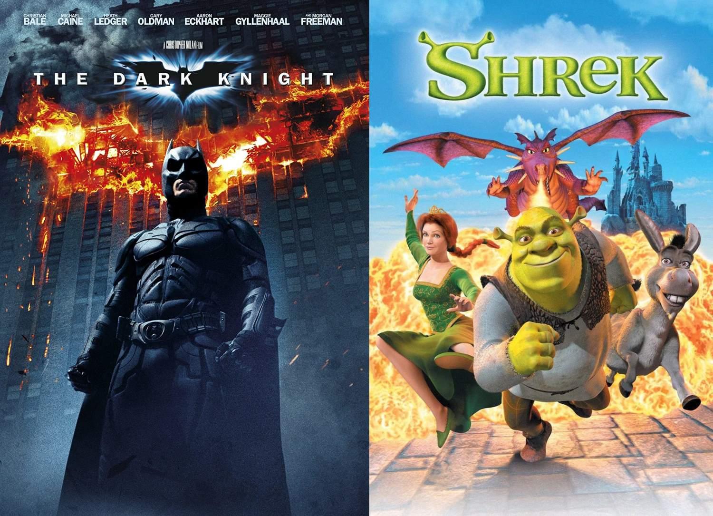 Mroczny Rycerz (84% - ZWYCIĘZCA) vs. Shrek (16%)